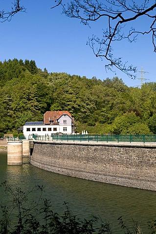 Hotel and Restaurant Zur Oestertalsperre above barrage, Naturpark Ebbegebirge nature preserve, Sauerland region, North Rhine-Westphalia, Germany, Europe