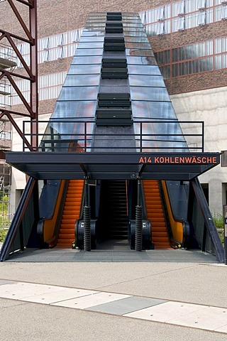 Escalator to the visitor center of the Zeche Zollverein mine, UNESCO World Heritage Site, Essen, Ruhrgebiet area, North Rhine-Westphalia, Germany, Europe