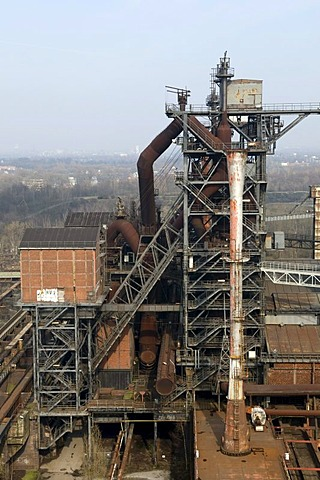 Blast furnace of a former steel plant in the Landschaftspark Duisburg Nord landscape park, Ruhrgebiet area, North Rhine-Westphalia, Germany, Europe