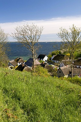 Thatched houses in the Vitt fishing village, Ruegen island, Mecklenburg-Western Pomerania, Germany, Europe