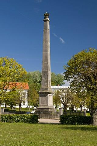 Obelisk at the Circus in Putbus, Ruegen island, Mecklenburg-Western Pomerania, Germany, Europe