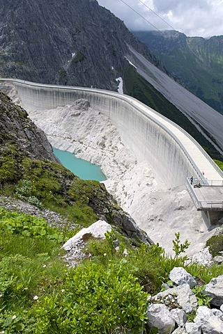 Dam on Luener Lake at 1979m altitude, Vorarlberg, Austria, Europe