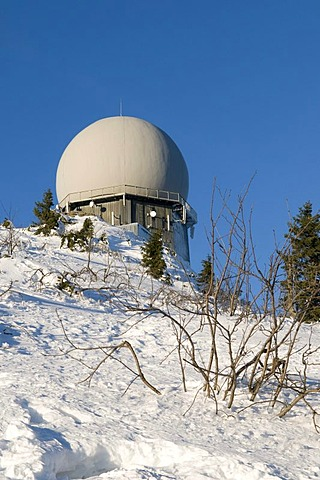 Radar tower on the Grosser Arber, Bavarian Forest Nature Park, Bavaria, Germany, Europe