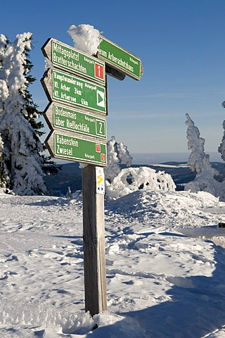 Signpost on the summit plateau of the Grosser Arber, Bavarian Forest Nature Park, Bavaria, Germany, Europe