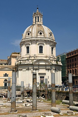 Imperial Fora with the Church Santissimo Nome Di Maria, Church of the Most Holy Name of Mary, Rome, Italy, Europe