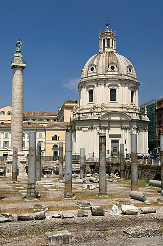 Imperial Fora with the Trajan's Column and the Church Santissimo Nome Di Maria, Church of the Most Holy Name of Mary, Rome, Italy, Europe