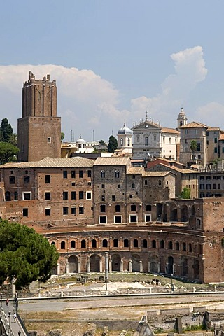 Mercatus Traiani Trajan's Market and militia tower, Rome, Italy, Europe