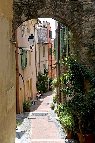 Alley in the historic centre, Menton, Cote d'Azur, Provence, France, Europe