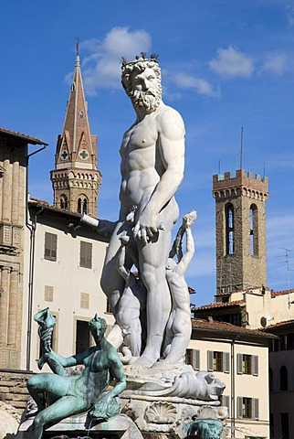 Neptune Fountain on Piazza della Signoria, Florence, Unesco World Heritage Site, Tuscany, Italy, Europe