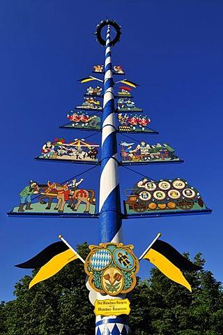 Maypole at Viktualienmarkt, Munich, Bavaria, Germany, Europe