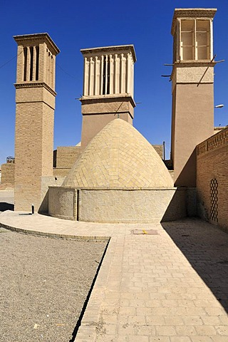 Windtowers at an underground water reservoir in Nain, Isfahan, Esfahan, Iran, Persia, Asia