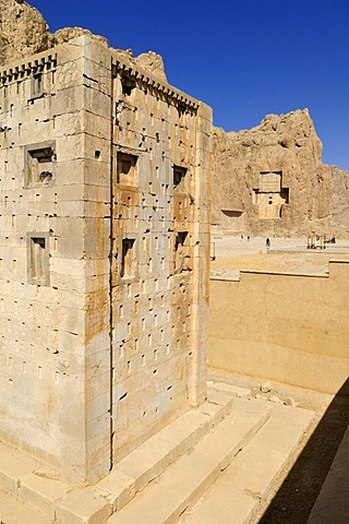 Kaba-ye Zardosht at the Achaemenid burial site Naqsh-e Rostam, Rustam near the archeological site of Persepolis, UNESCO World Heritage Site, Persia, Iran, Asia