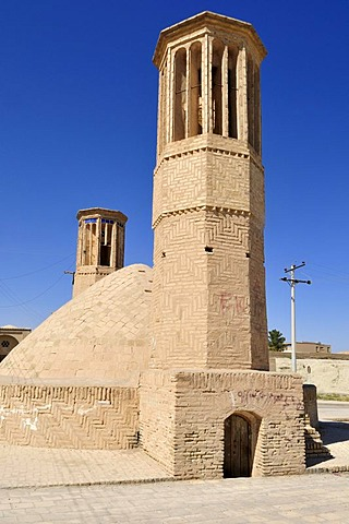 Windtower at an underground water reservoir in Nain, Isfahan, Esfahan, Iran, Persia, Asia