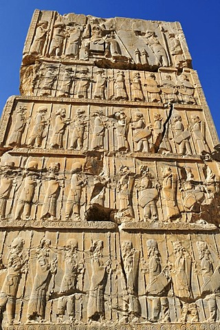 Bas-relief at the Achaemenid archeological site of Persepolis, UNESCO World Heritage Site, Persia, Iran, Asia