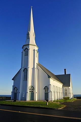 Historic wooden Church of La Verniere, L'Etang du Nord, Ile du Cap aux Meules, Iles de la Madeleine, Magdalen Islands, Quebec Maritime, Canada, North America