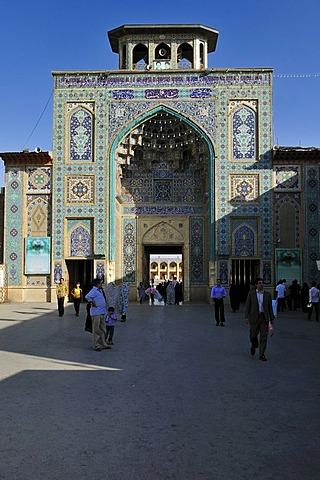 Entrance portal of Shah Cheragh Mausoleum, Shiraz, Fars, Iran, Persia, Asia