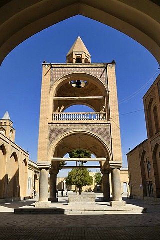 Belltower of the historic Armenian orthodox Vank Cathedral, Isfahan, Esfahan, Iran, Persia, Asia