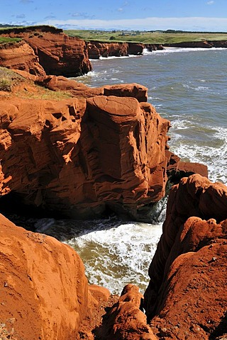 Red cliffs at Cap du Phare, Ile du Cap aux Meules, Iles de la Madeleine, Magdalen Islands, Quebec Maritime, Canada, North America