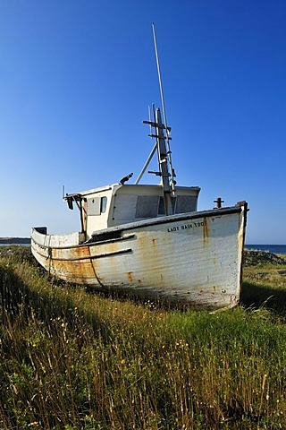 Old lobster boat on a meadow of Ile d'Entree, Entry Island, Iles de la Madeleine, Magdalen Islands, Quebec Maritime, Canada, North America