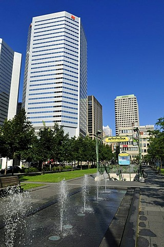 Fountain at Place Jean-Paul-Riopelle, Montreal, Quebec, Canada, North America
