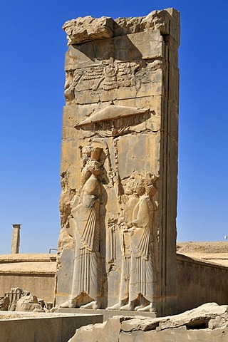 Bas-relief with god Ahuramazda at the Achaemenid archeological site of Persepolis, UNESCO World Heritage Site, Persia, Iran, Asia