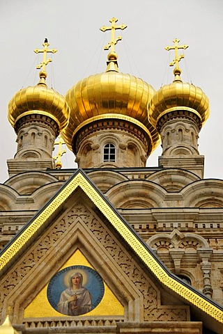 Gilded domes of the Russian Orthodox Church of Mary Magdalene on the Mount of Olives, Jerusalem, Israel, Middle East, Orient