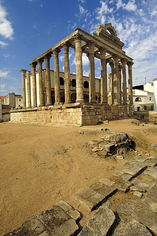 Ruins of Diana's temple, in the old Roman city Emerita Augusta, Merida, Badajoz province, Ruta de la Plata, Spain, Europe