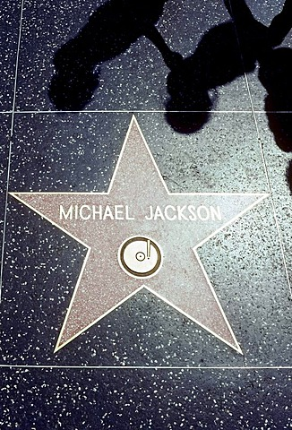 Walk of Fame, star with writing Michael Jackson on the sidewalk, Hollywood Boulevard, Los Angeles, California, USA