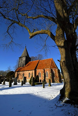 Village church built in 1400 and the cemetery of the Protestant parish Gross Zicker, Moenchgut peninsula, Mecklenburg-Western Pomerania, Germany, Europe