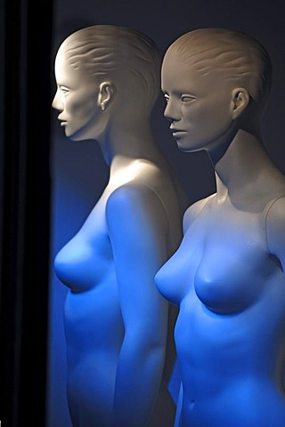 Two white nude mannequins illuminated in blue, Freiburg, Germany, Europe