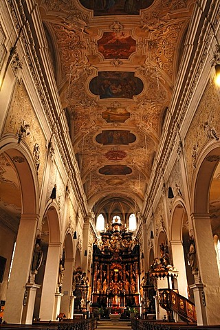 Kirche Unsere liebe Frau Church of Our Lady or Obere Pfarre church, Gothic building, interior, remodelled in the Baroque style, 18th century, Eisgrube 4, Bamberg, Upper Franconia, Bavaria, Germany, Europe