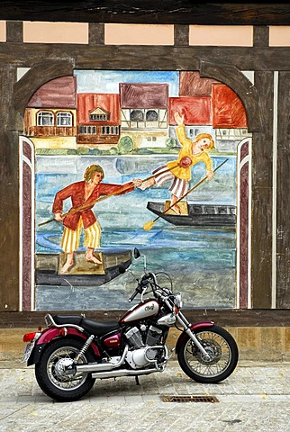 Mural in the old town, UNESCO World Heritage Site Bamberg, Upper Franconia, Bavaria, Germany, Europe