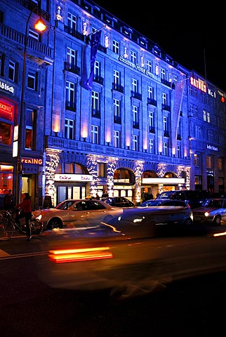 Blue illumination of the Excelsior Hotel Ernst, luxury hotel in the Trankgasse street, Cologne, Rhineland, North Rhine-Westphalia, Germany, Europe