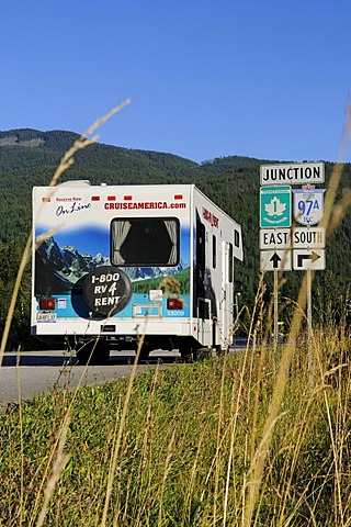 Camper, road sign, Trans Canada Highway, British Columbia, Canada