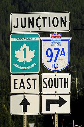 Road sign, Trans Canada Highway, British Columbia, Canada