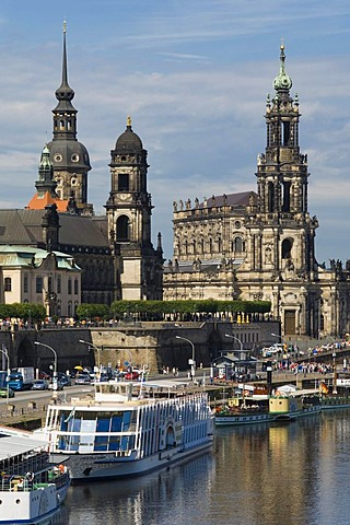 Excursion boat on Bruehl's Terrace, Royal Palace, Church of the Royal Court, Dresden, Saxony, Germany, Europe