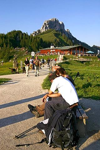 Tourists on the Kampenwand, Chiemgau, Upper Bavaria, Germany, Europe