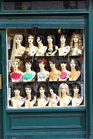 Hair mannequins in window, Dublin, Ireland, Europe