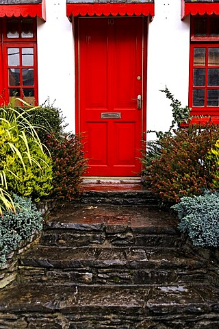 Stone stairs, red door, Kenmare, Ireland, Europe