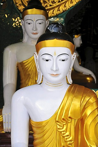 Buddha statues, Shwedagon Pagoda, Yangon, Burma, Myanmar, Southeast Asia