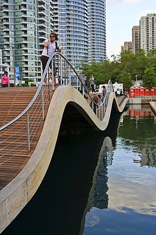 Toronto Waterfront WaveDecks, wooden sidewalks which won an Urban Design Award, at the Lake Ontario shores, Canada