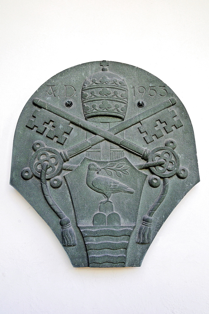 Crest, Pope Pius XII, Church of the Visitation, pilgrimage basilica, Werl, Soest district, North Rhine-Westphalia, Germany, Europe