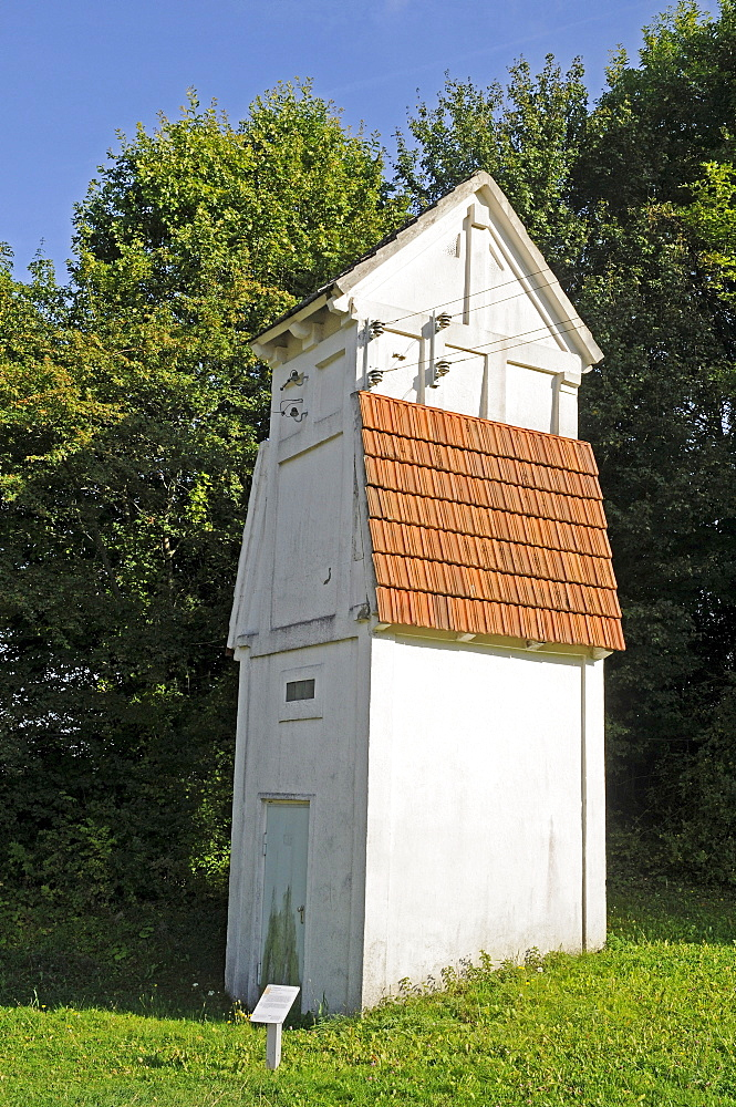 Old transformer tower, open-air museum, Westphalian State Museum for Ethnology, Detmold, North Rhine-Westphalia, Germany, Europe