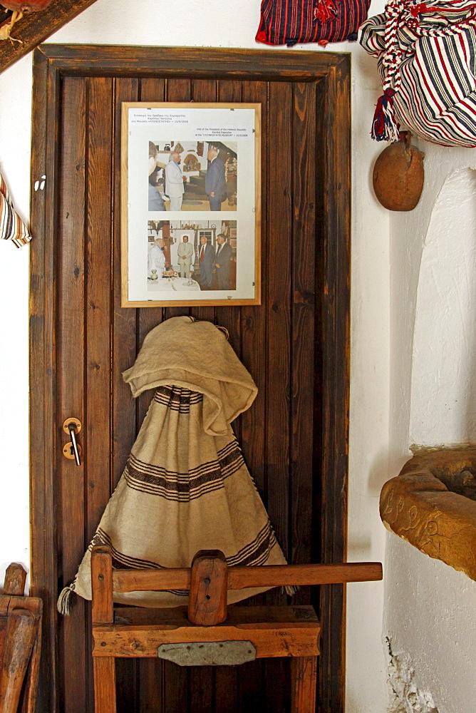 Interior, Lychnostatis Open Air Museum, Museum of the traditional Cretan life, Hersonissos, Crete, Greece, Europe