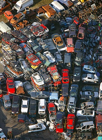 Aerial photo, Carolinenglueck industrial area, Hordel car wrecking yard, Bochum, Ruhr area, North Rhine-Westphalia, Germany, Europe
