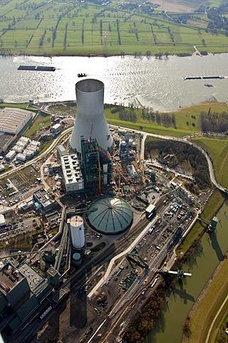 Aerial photo, Evonik Steag coal-fired power station, Walsum, Rhein, Duisburg, Ruhr area, North Rhine-Westphalia, Germany, Europe
