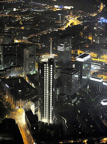 Aerial photo, RWE Turm Evonik City Sued skyscraper, Extraschicht 2009 cultural festival, night flight, Essen, Ruhrgebiet area, North Rhine-Westphalia, Germany, Europe