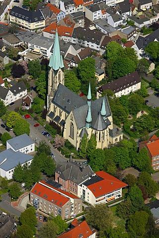 Aerial view, downtown church, Kamen, Ruhrgebiet region, North Rhine-Westphalia, Germany, Europe