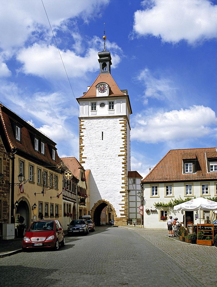 Town Tower, Karlsplatz square, Prichsenstadt, Lower Franconia, Bavaria, Germany, Europe