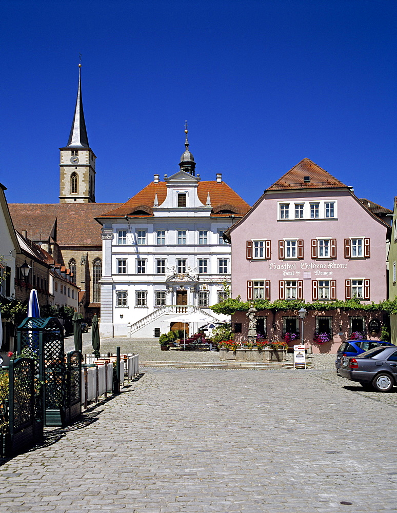 Marktplatz, market square, Iphofen, Lower Franconia, Bavaria, Germany, Europe